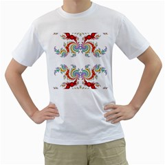 Fractal Kaleidoscope Of A Dragon Head Men s T Shirt (white) (two Sided)