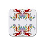 Fractal Kaleidoscope Of A Dragon Head Rubber Square Coaster (4 pack)  Front