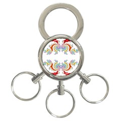 Fractal Kaleidoscope Of A Dragon Head 3 Ring Key Chains