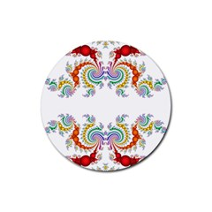 Fractal Kaleidoscope Of A Dragon Head Rubber Round Coaster (4 Pack)