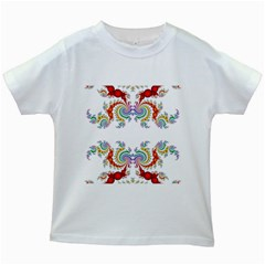 Fractal Kaleidoscope Of A Dragon Head Kids White T Shirts