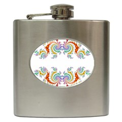 Fractal Kaleidoscope Of A Dragon Head Hip Flask (6 Oz)