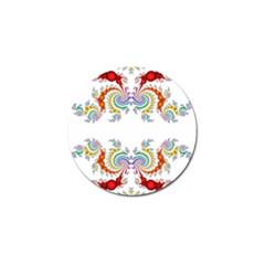 Fractal Kaleidoscope Of A Dragon Head Golf Ball Marker (4 pack)