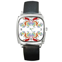 Fractal Kaleidoscope Of A Dragon Head Square Metal Watch
