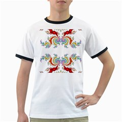 Fractal Kaleidoscope Of A Dragon Head Ringer T Shirts