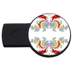 Fractal Kaleidoscope Of A Dragon Head Usb Flash Drive Round (4 Gb)