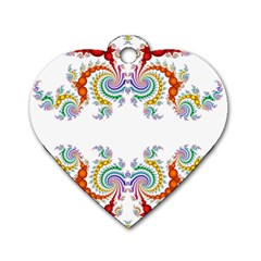 Fractal Kaleidoscope Of A Dragon Head Dog Tag Heart (one Side)