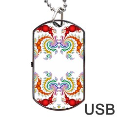 Fractal Kaleidoscope Of A Dragon Head Dog Tag USB Flash (One Side)