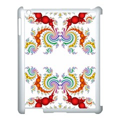 Fractal Kaleidoscope Of A Dragon Head Apple iPad 3/4 Case (White)
