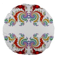 Fractal Kaleidoscope Of A Dragon Head Large 18  Premium Round Cushions