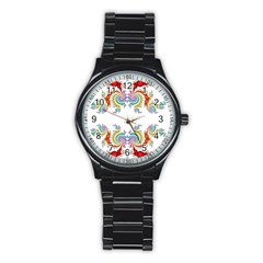Fractal Kaleidoscope Of A Dragon Head Stainless Steel Round Watch