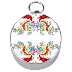 Fractal Kaleidoscope Of A Dragon Head Silver Compasses
