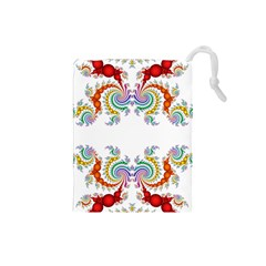 Fractal Kaleidoscope Of A Dragon Head Drawstring Pouches (Small)