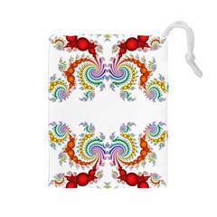 Fractal Kaleidoscope Of A Dragon Head Drawstring Pouches (Large)