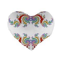 Fractal Kaleidoscope Of A Dragon Head Standard 16  Premium Flano Heart Shape Cushions