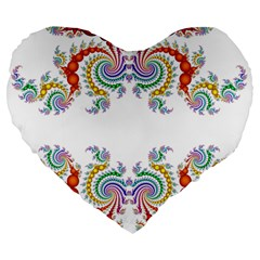 Fractal Kaleidoscope Of A Dragon Head Large 19  Premium Flano Heart Shape Cushions