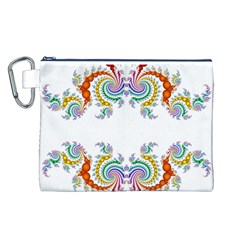 Fractal Kaleidoscope Of A Dragon Head Canvas Cosmetic Bag (L)