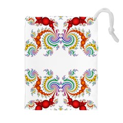 Fractal Kaleidoscope Of A Dragon Head Drawstring Pouches (Extra Large)