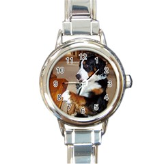 Bernese Mountain Dog Begging Round Italian Charm Watch