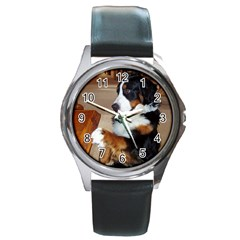Bernese Mountain Dog Begging Round Metal Watch