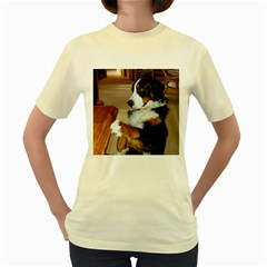 Bernese Mountain Dog Begging Women s Yellow T-Shirt