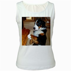 Bernese Mountain Dog Begging Women s White Tank Top