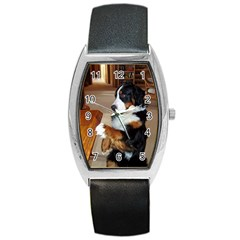 Bernese Mountain Dog Begging Barrel Style Metal Watch