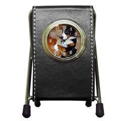 Bernese Mountain Dog Begging Pen Holder Desk Clocks