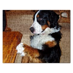 Bernese Mountain Dog Begging Rectangular Jigsaw Puzzl