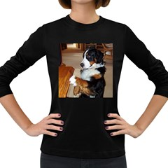 Bernese Mountain Dog Begging Women s Long Sleeve Dark T-Shirts