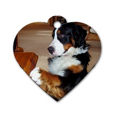 Bernese Mountain Dog Begging Dog Tag Heart (One Side)