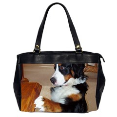 Bernese Mountain Dog Begging Office Handbags (2 Sides)
