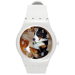 Bernese Mountain Dog Begging Round Plastic Sport Watch (M)