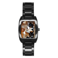 Bernese Mountain Dog Begging Stainless Steel Barrel Watch