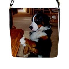 Bernese Mountain Dog Begging Flap Messenger Bag (L)