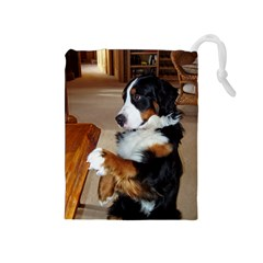 Bernese Mountain Dog Begging Drawstring Pouches (Medium)