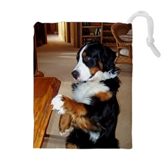 Bernese Mountain Dog Begging Drawstring Pouches (Extra Large)