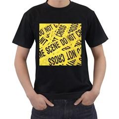 Crime scene Men s T-Shirt (Black) (Two Sided)