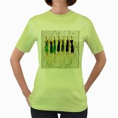 Fashion sketch  Women s Green T-Shirt