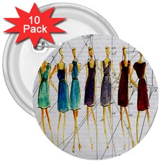 Fashion sketch  3  Buttons (10 pack)
