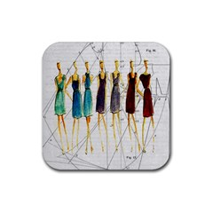 Fashion sketch  Rubber Coaster (Square)