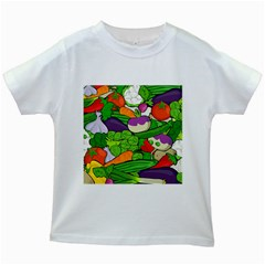 Vegetables  Kids White T-Shirts