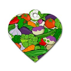 Vegetables  Dog Tag Heart (Two Sides)