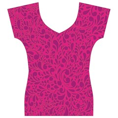 Pink pattern Women s V-Neck Cap Sleeve Top
