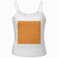 Orange pattern White Spaghetti Tank