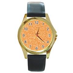 Orange pattern Round Gold Metal Watch
