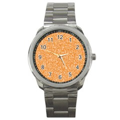 Orange pattern Sport Metal Watch
