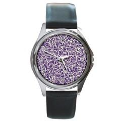 Purple pattern Round Metal Watch