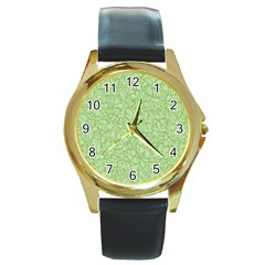 Green pattern Round Gold Metal Watch