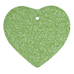 Green pattern Heart Ornament (Two Sides)
